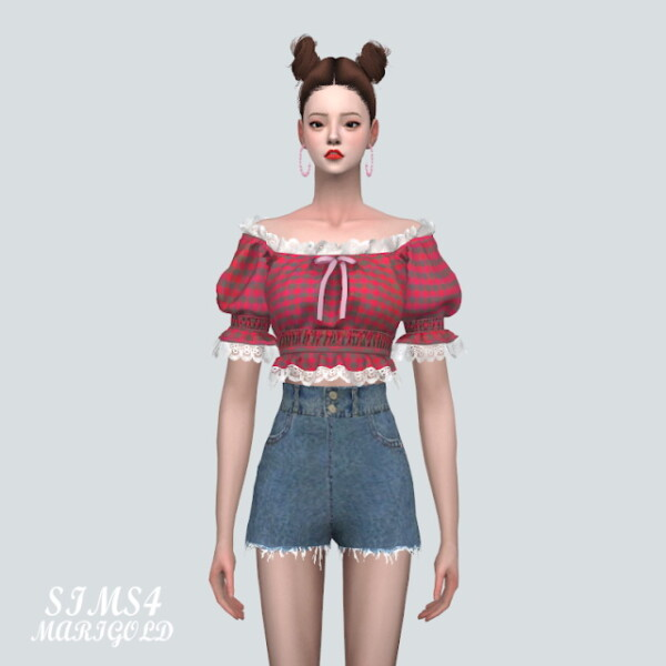 22 Lace Ribbon Off Shoulder Blouse V2 from SIMS4 Marigold