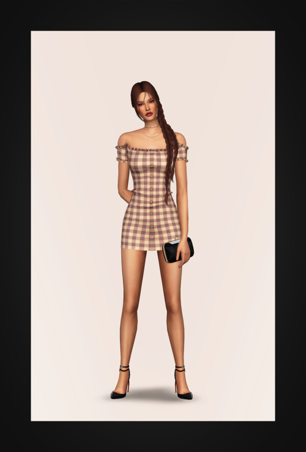 Off Shoulder Buttoned Mini Dress from Gorilla