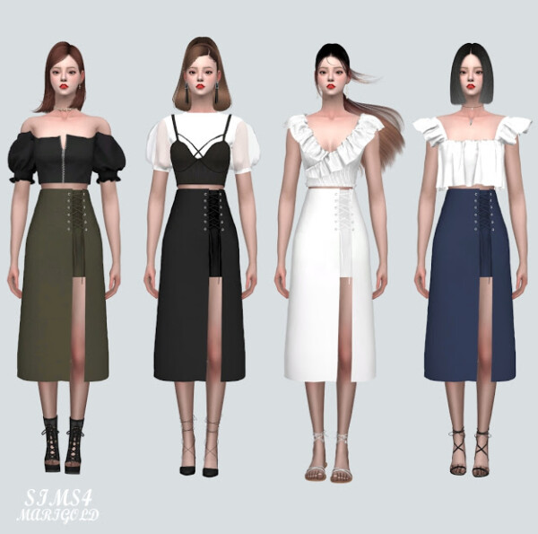 QQQ Lace Up Long Skirt from SIMS4 Marigold