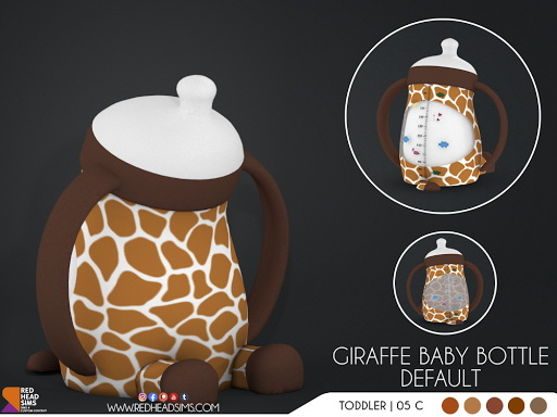 Giraffe Pacifier and Baby Bottle from Red Head Sims