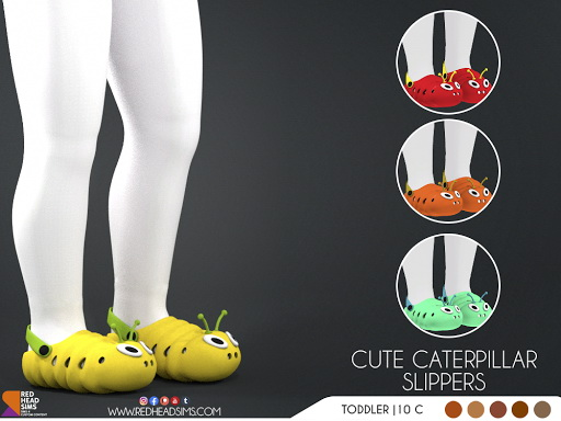 Cute Caterpillar Slippers from Red Head Sims