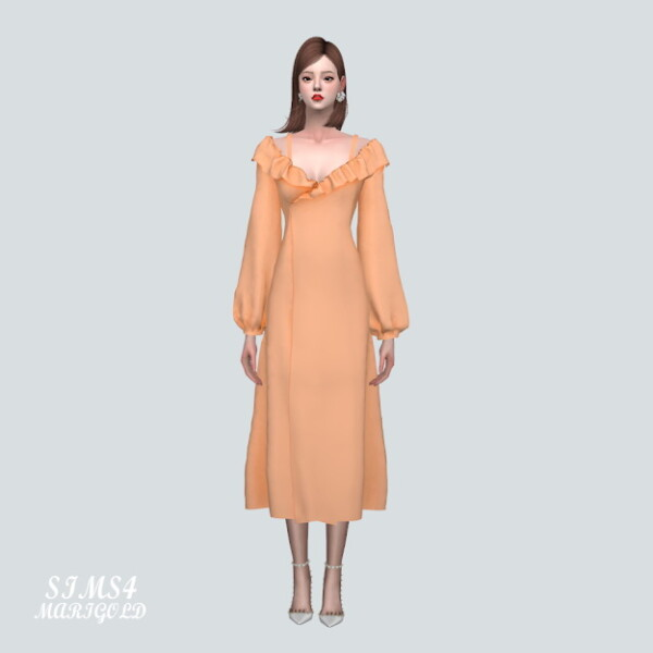 DD Off Shoulder Frill Long Dress from SIMS4 Marigold