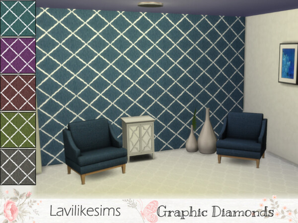 Graphic Diamonds Walls by lavilikesims from TSR