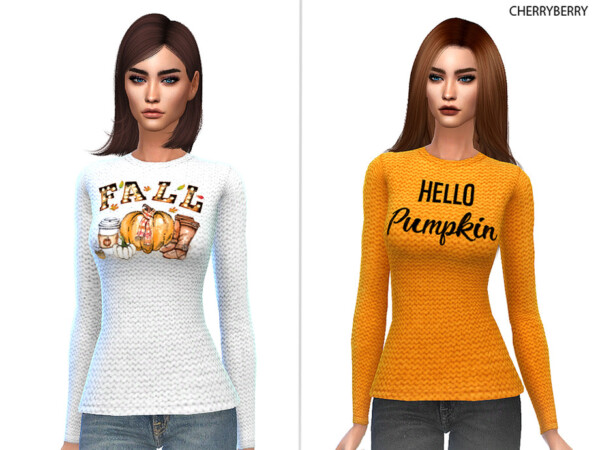 Graphic Fall Sweater by CherryBerrySim from TSR