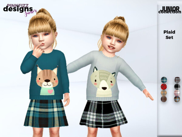 Junior Plaid Set by Pinkfizzzzz from TSR