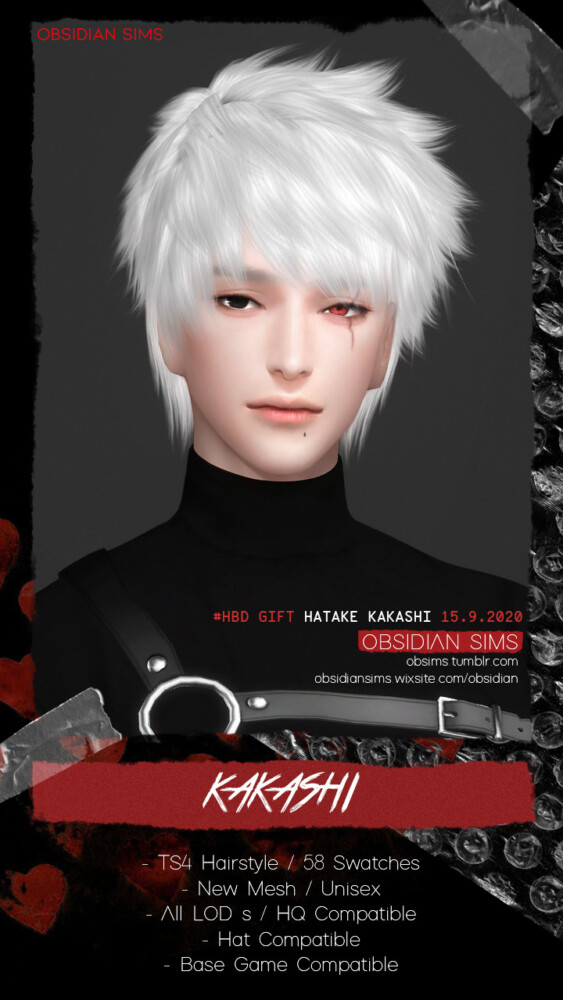 Kakashi Hairstyle from Obsidian Sims