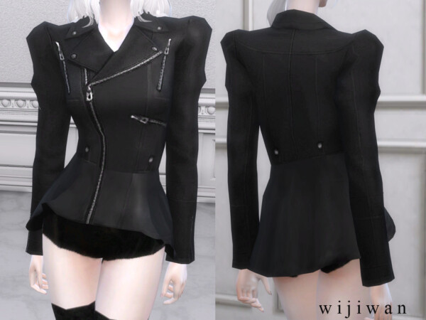 Peplum leather jacket v2 by wijiwan from TSR