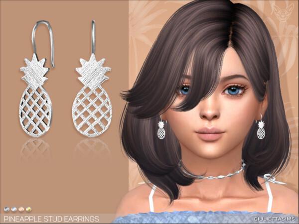 Pineapple Earrings for girls  by feyona from TSR