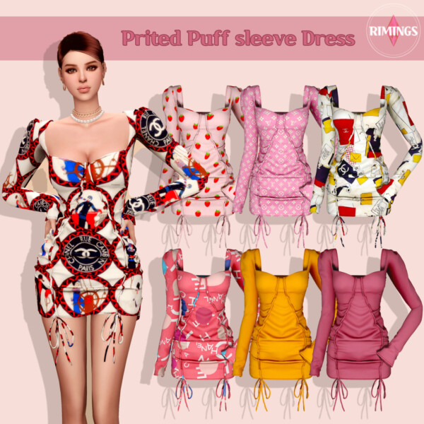 Prited Puff sleeve Dress from Rimings