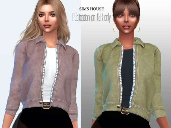 Womens eco leather jacket with a T shirt by Sims House from TSR