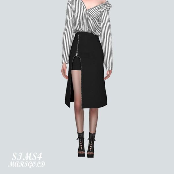 Zipper Slit Midi Skirt from SIMS4 Marigold