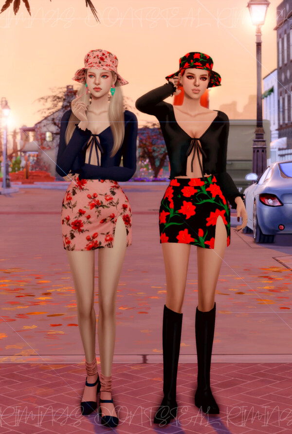 Ribbed Open Cardigan, Floral Open Skirt and Bucket hat from Rimings