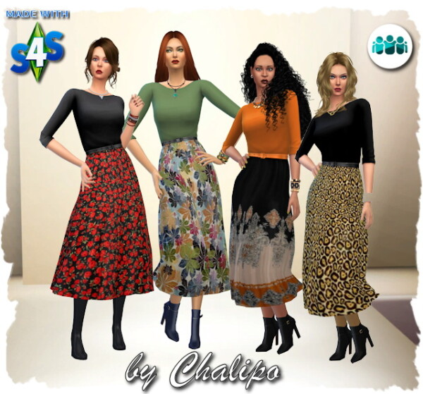 Friends dress autumnal by Chalipo from All4Sims