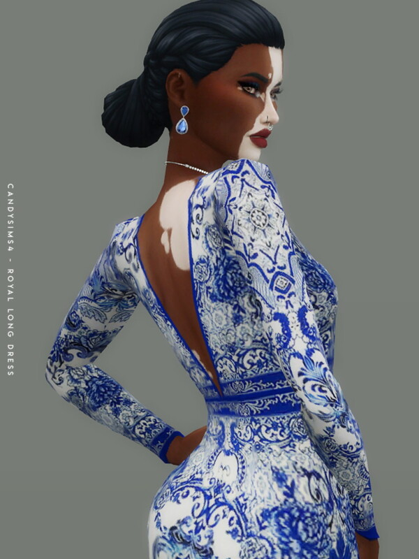 Royal Long Dress from Candy Sims 4