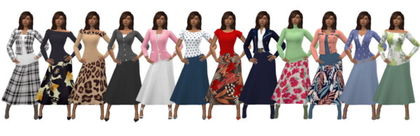 Calf length skirt from Sims 4 Sue