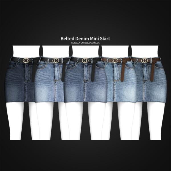 Belted Denim Mini Skirt from Gorilla