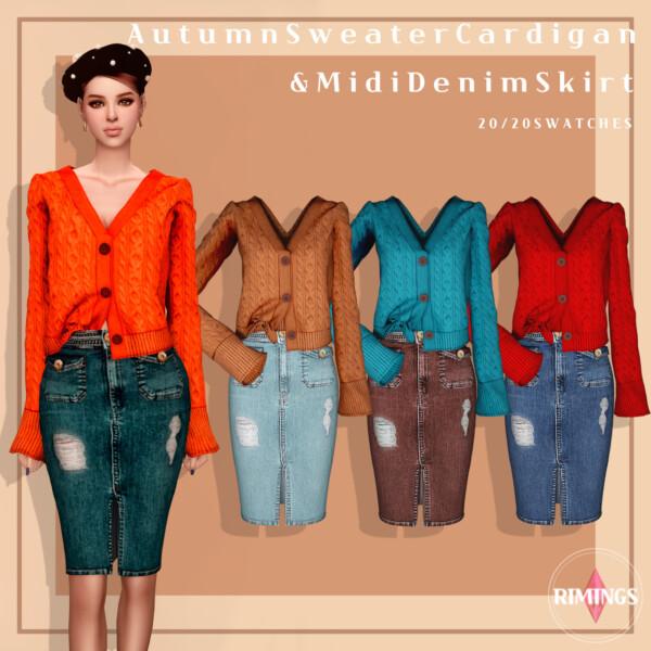 Autumn Sweater Cardigan and Midi Denim Skirt from Rimings