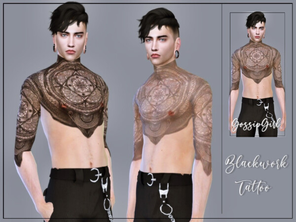 Blackwork Tattoo by GossipGirl S4 from TSR