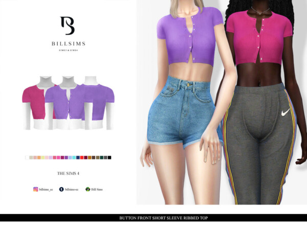 Button Front Short Sleeve Ribbed Top by Bill Sims from TSR