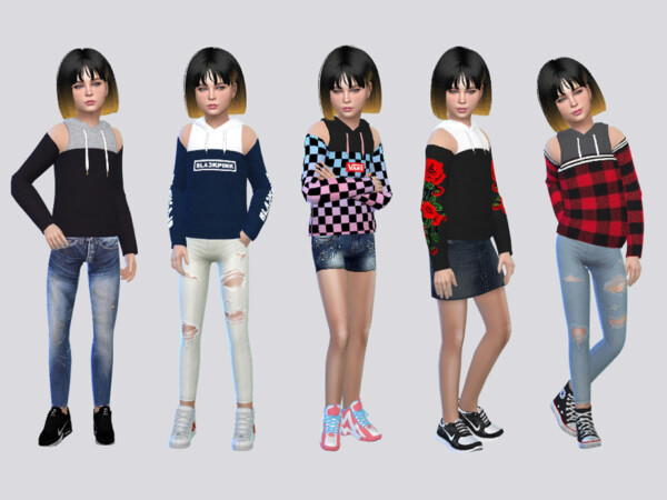 Caldwell OffShoulder Hoodies by McLayneSims from TSR