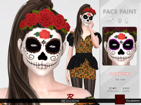 Halloween Mexican Skull Face Paint 01 by remaron from TSR