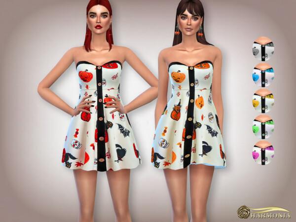Halloween Pumpkin Print Mini Dress by Harmonia from TSR