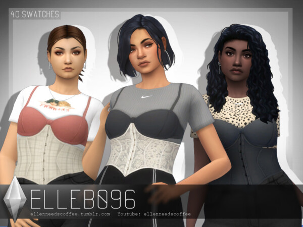 Layered Bra and Corset Shirt by Elleb096 from TSR