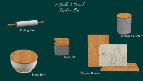 Marble and Wood Kitchen Set from Sunkissedlilacs