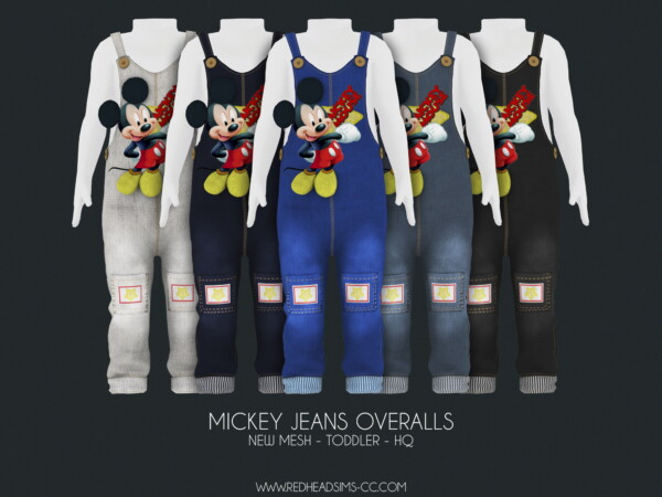 Mickey jeans overalls from Red Head Sims