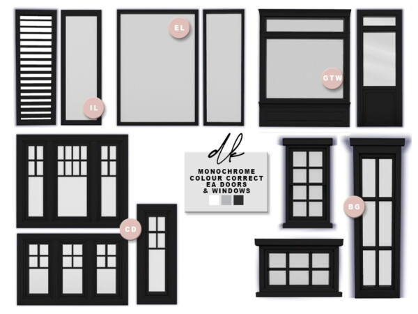 Monochrome Colour Corrected Doors and Windows from DK Sims