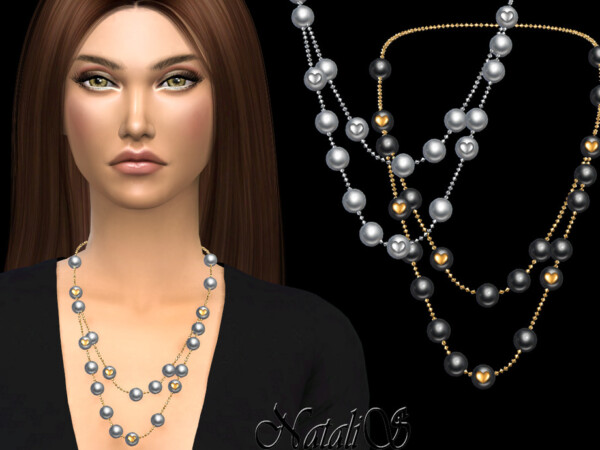 Double pearl with heart necklace by NataliS from TSR