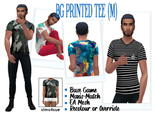 Printed V Neck Tee from Sims 4 Sue