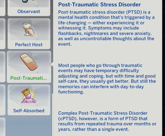 Post Traumatic Stress Disorder by NotoriousRose from Mod The Sims
