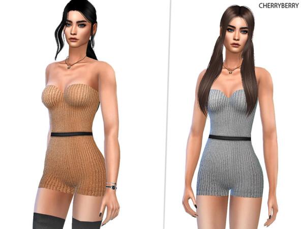 Saara Knitted Romper by CherryBerrySim from TSR