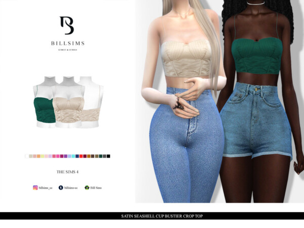 Satin Seashell Cup Bustier Crop Top by Bill Sims from TSR