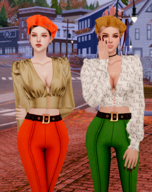 Silk Blouse, Skinny Pants and Knit Beret from Rimings