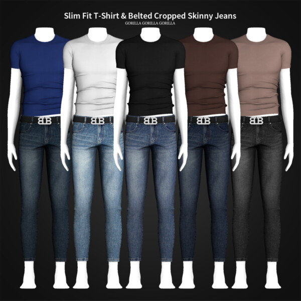 Slim Fit T Shirt and Belted Cropped Skinny Jeans from Gorilla