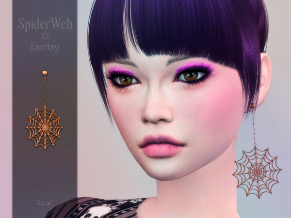 Spider Web Earring V2 by Suzue from TSR