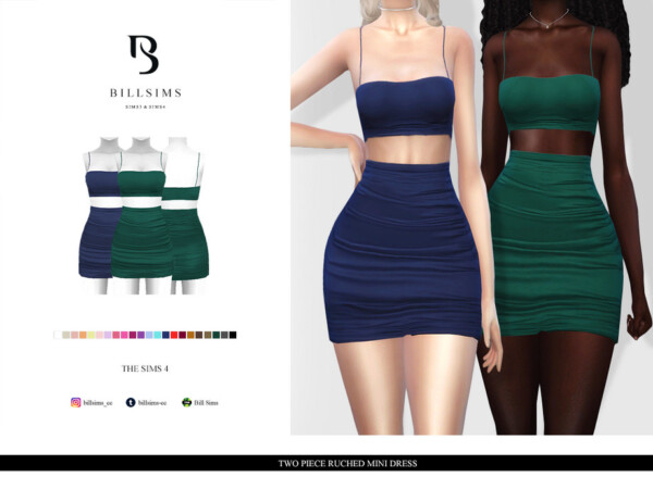 Two Piece Ruched Mini Dress by Bill Sims from TSR