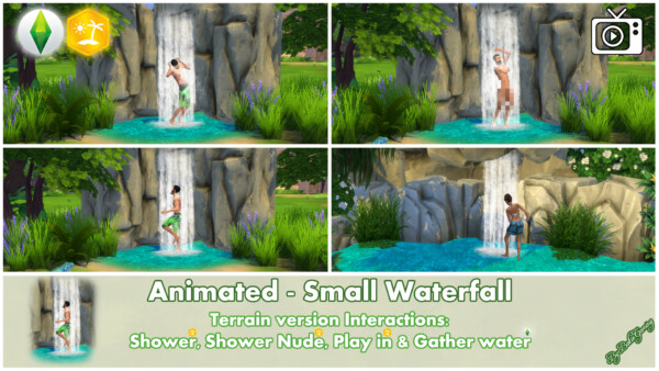 Animated Small Waterfall by Bakie from Mod The Sims