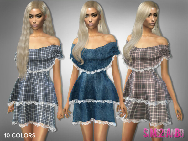 309 Off Shoulder Layered Dress by sims2fanbg from TSR