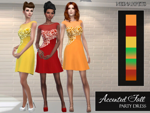 Accented Fall Party Dress by neinahpets from TSR