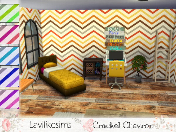 Crackle Chevron Walls by lavilikesims from TSR