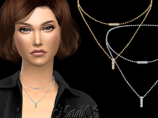 Diamond bar double necklace by NataliS from TSR