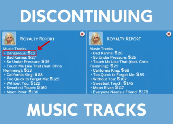Discontinuing Music Tracks by gabeisafat from Mod The Sims