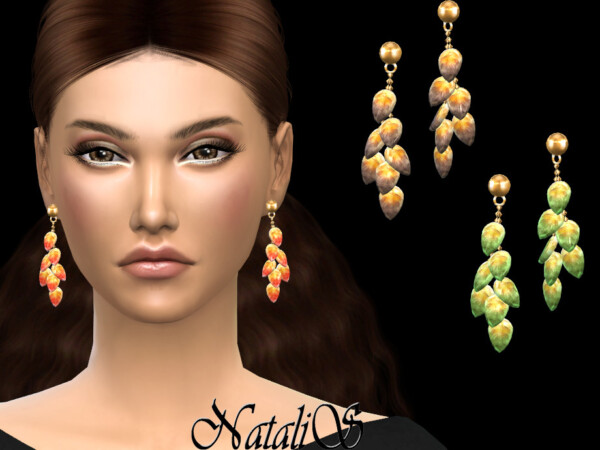 Glass leaves earrings by NataliS from TSR