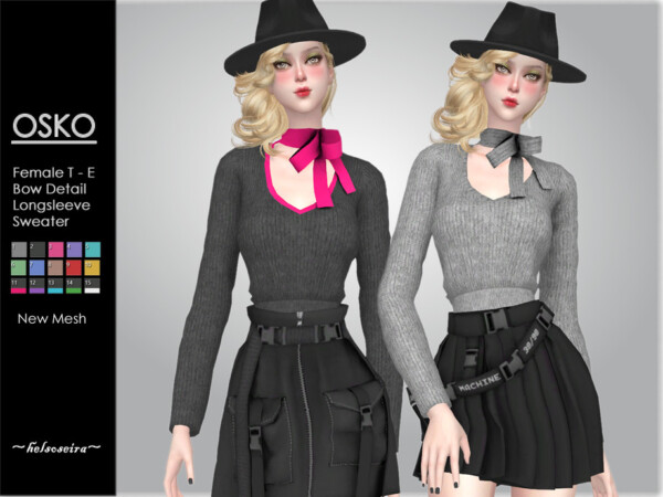 Osko Bow Sweater by Helsoseira from TSR