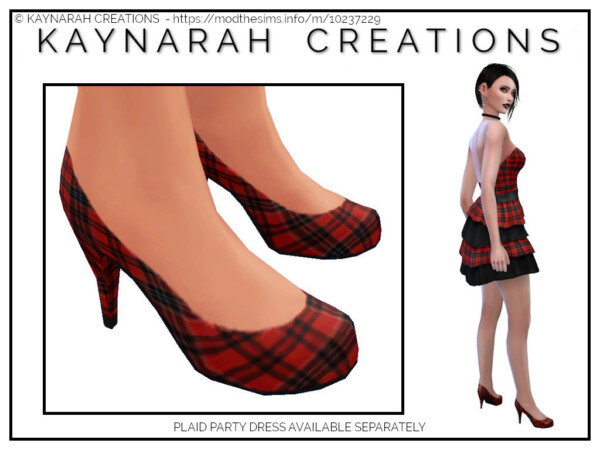 Red Plaid Heels by  Kaynarah from Mod The Sims
