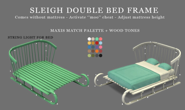 Sleigh Double Bed Frame from Leo 4 Sims