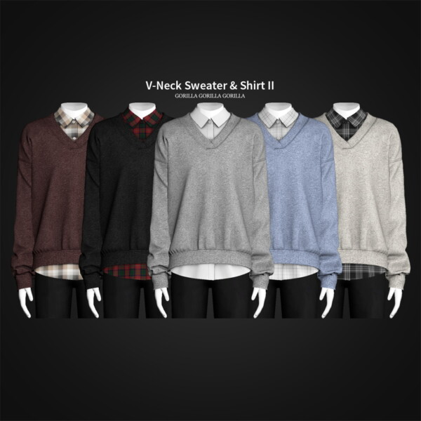 V Neck Sweater and Shirt II from Gorilla